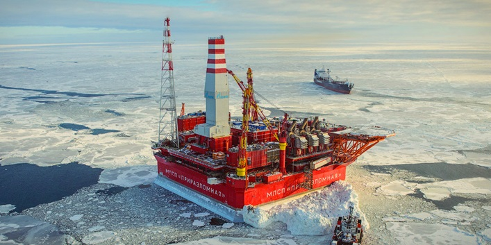 Russian ice-resistant oil platform Prirazlomnaya in the Arctic